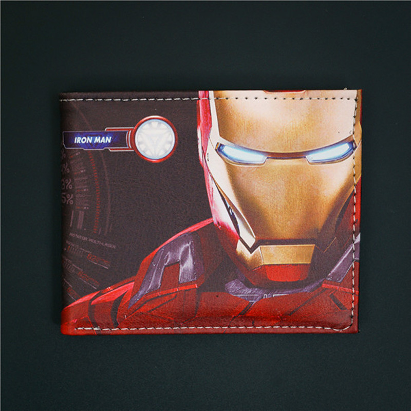 Wallet Comics DC Marvel Iron Man Movies Short Wallets with Card Holder Purse Leather Cartoon Bags Men Young