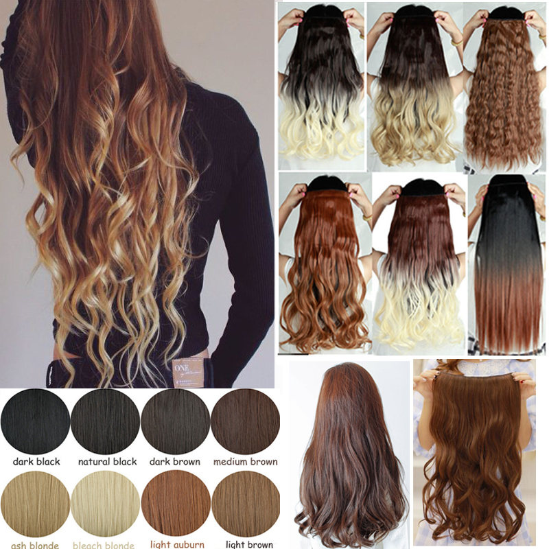 """23""""66cm 140g Clip In Ombre Hair Extensions Fashion Curly Wavy Long Synthetic Hair Extension Two Tone Ombre Hair Extensions(China (Mainland))"""