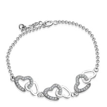 Christmas Gift AAA 100% Sterling Silver 925 Jewelry Bracelets & Bangles Lovely Heart Bracelet  Free Shipping(China (Mainland))