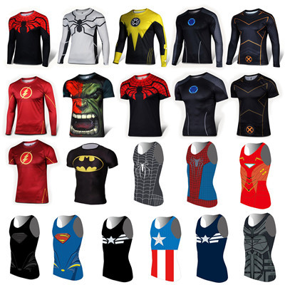 Marvel Super heroes Avengers Batman Men T shirt Compression Armour Base Layer Thermal Under Top Cycling Sport fitness T shirt(China (Mainland))