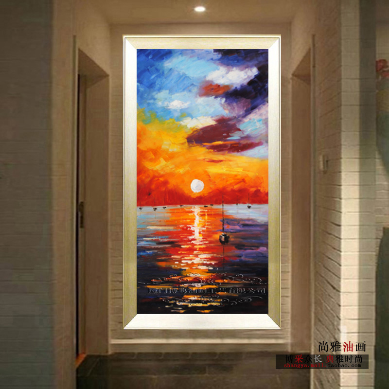 New arrival Entranceway decorative picture fashion wall art handpainted sunset seascape oil painting vertical version(China (Mainland))