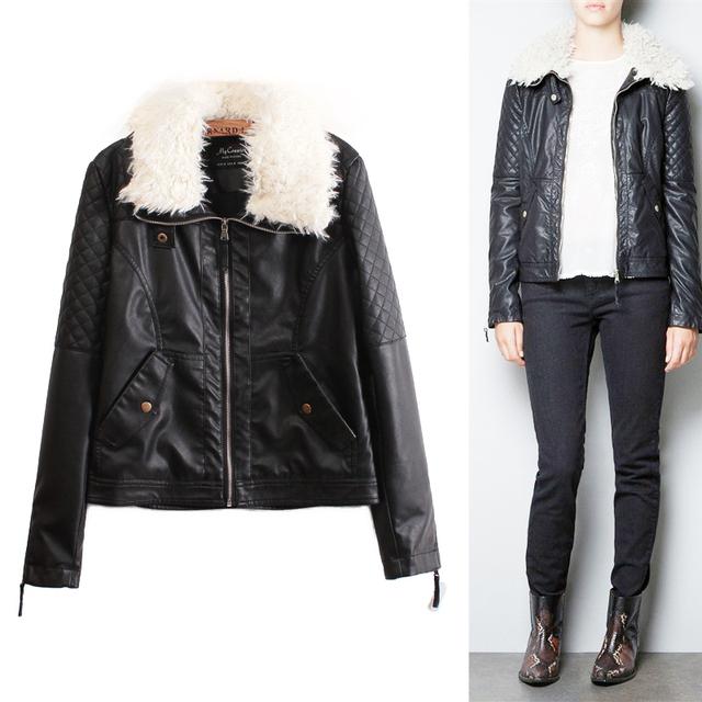 2012 fashion Leather jacket women,berber fleece turn-down fur collar,long sleeve  leather clothing,black outerwear,winter coat