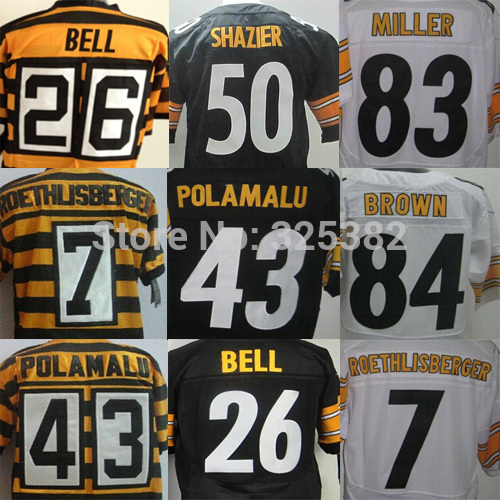 cheap Le'Veon Bell antonio brown, Roethlisberger Troy Polamalu Miller Ryan Shazier Steeler 80th Throwback elite Football Jerseys(China (Mainland))