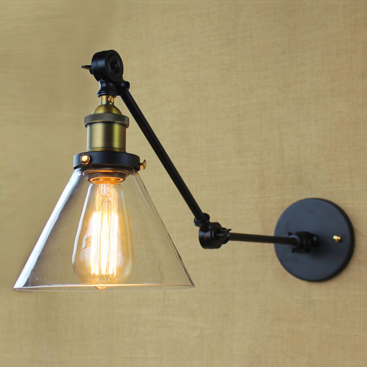 Vintage Bedside Wall Lamps : American-Loft-Industrial-Wall-Lamps-Vintage-Bedside-Wall-Light-Glass-Lampshade-E27-Edison-Bulbs ...