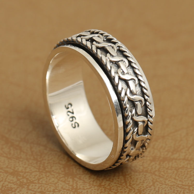 Handmade 925 Silver Spinning Ring Good Luck RIng Sterling Silver Vintage Ring