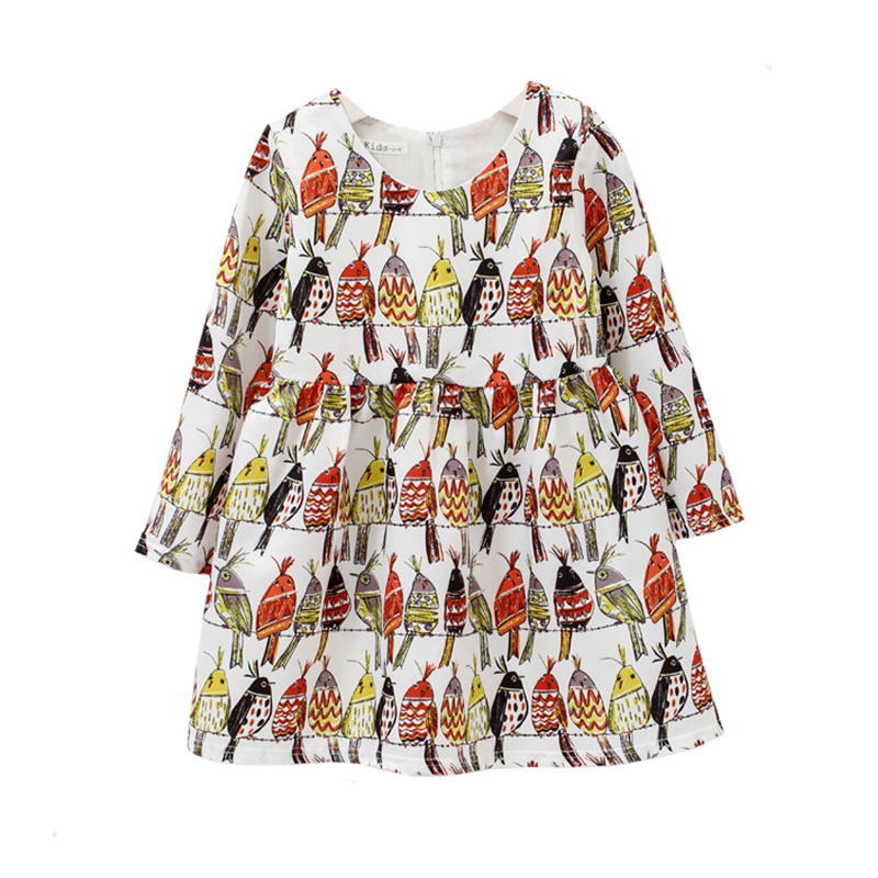 New 2016 Kids Dresses For Girls Spring Girl Dress 1-12Yrs Baby Girls Birdie Clothes Parrot Printing Girls Summer Dresses(China (Mainland))