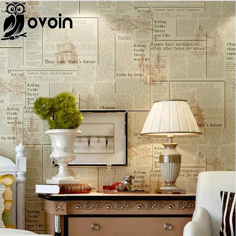beige vintage english letters wallpaper roll pvc newspaper