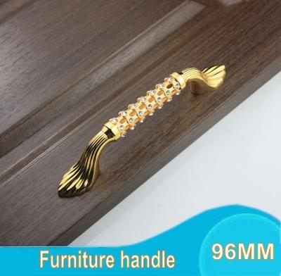 High-grade 96MM Gold-plated Diamond Crystal Furniture Hardware Handles Door Drawer Wardrobe Kitchen Cabinets Cupboard Pull Knob(China (Mainland))
