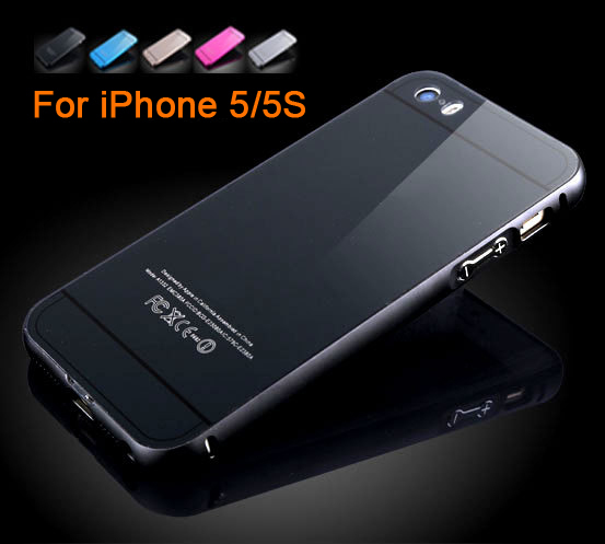 Luxury Mirror Aluminum Bumper for iPhone 5 5S Metal Phone Back Hard Case for iPhone5 5S Hybrid 5 Styles(China (Mainland))