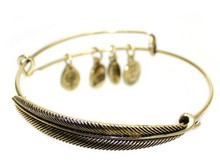 New Style Retro Alloy Gold Silver Plated Leaf Bracelet Fashion Charms Feather Bracelets Vintage Simple Bangles For Women 2015ZN(China (Mainland))