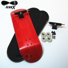ICANX 32MM Red Deck Black Trucks Mini Finger Skateboard Professional Wood Clear Bearing Wheels Fingerboard FS012(China (Mainland))