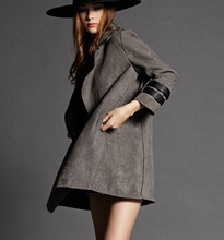European new Autum winter outfit 2016 deer faux suede trench coat in long big coat  lapels(China (Mainland))
