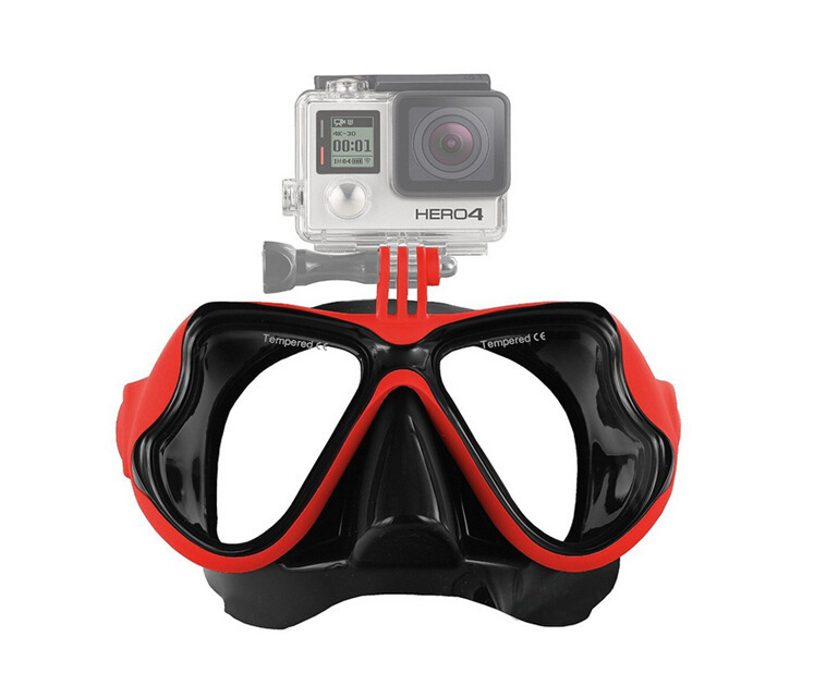 Diving Mask Gopro Hero 4 action camera accessories Scuba Diving Snorkeling silicone tempered glass goggles for Xiaomi Yi SJ4000(China (Mainland))