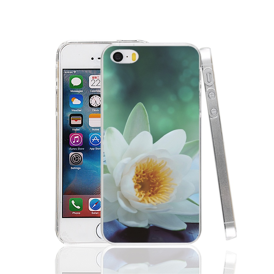 01441 White Lotus Flower Cover cell phone Case for iPhone 4 4S 5 5S SE 5C 6 6S 7 Plus(China (Mainland))