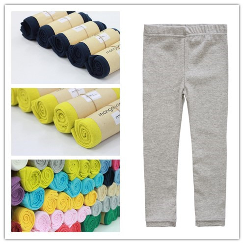 2-6Y Solid color New arrival Little Girls Pants Kids pencial elasticTrousers slim Leggings elastic Children clothes full length(China (Mainland))