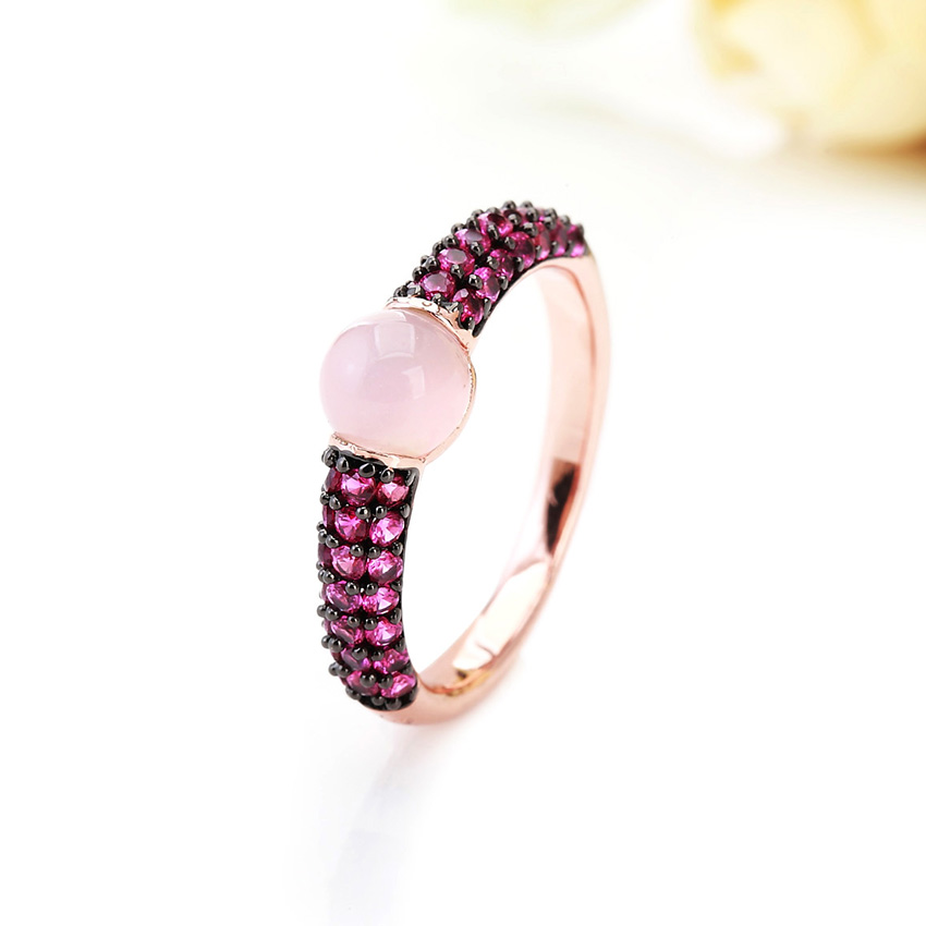 Fashion Noble Black & Rose Gold Plated Red Zircon Ring P085 - Huangmashi jewelry Ltd store