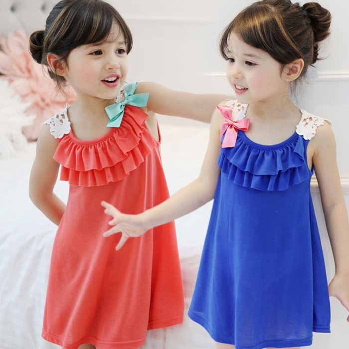 Retail! Girls Summer Dresses 2015 toddler girl clothes Casual Bohemian girl dress blue/Orange stripe beach Dresses(China (Mainland))
