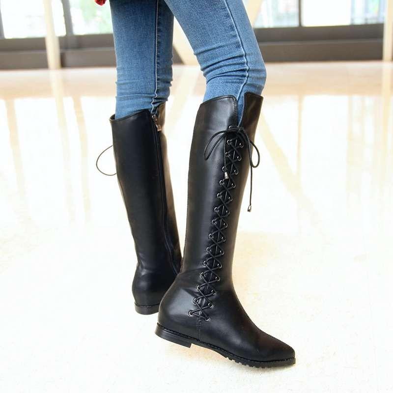 ซื้อ พลัสSize34-43 2016ใหม่มาถึงผู้หญิงบู๊ทหนังแท้สีดำแฟลตฤดูใบไม้ร่วงเข่าสูงรองเท้าหนังฤดูหนาวรองเท้าหิมะSBT3226