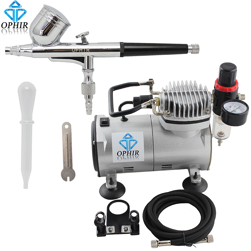 OPHIR Car Airbrush Paint Gun Dual-Action Airbrush Kit with Air Compressor Holder Filter for Nail Art Model Painting _AC089+AC004(China (Mainland))