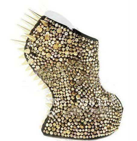 Gold Studded Boots Boots Spikes Gold Wedges