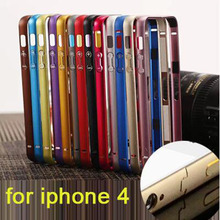 For iPhone4S bumper on a thin aluminum bumper frame case seismic protection frame ultra-thin protective shell for iPhone 4(China (Mainland))