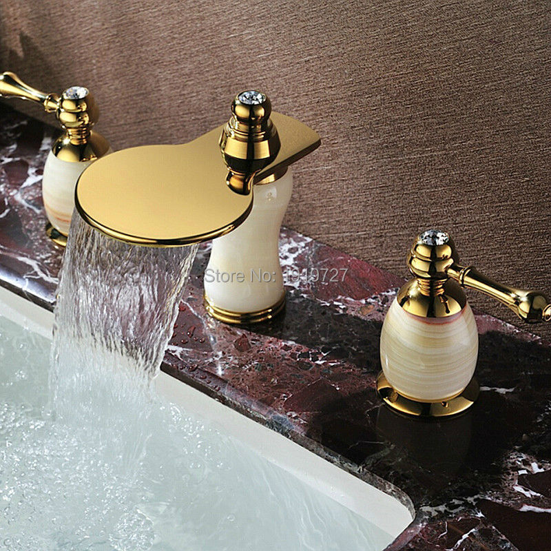 2016 Rushed Contemporary Luxurious Golden Style Widespread Dual Lever Deck Mount 3 Holes Bath Bathroom Vessel Sink Faucets(China (Mainland))
