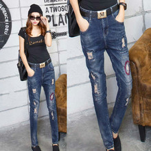 2016 patch jeans with woman vaqueros mujer pantalon femme Has elasticity jeans with embroidery(China (Mainland))