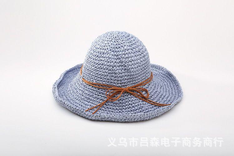 2016 new Handmade crochet soft foldable straw sun summer hats for women girls Beach hat gift chapeau femme
