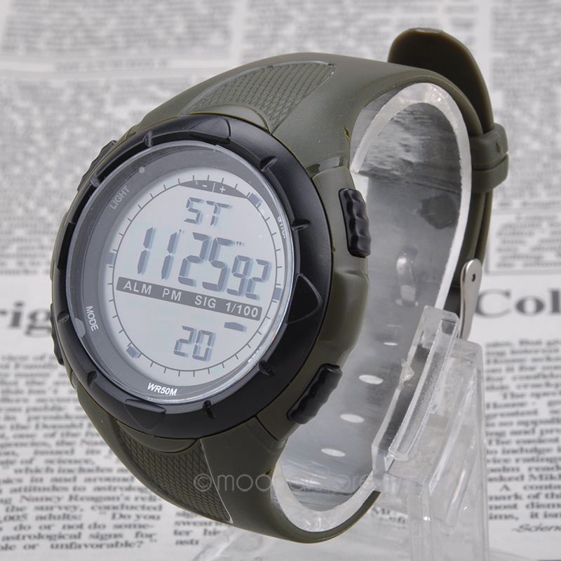 Fashion Watches Men Stopwatch Date Military Wtaches 50m Watchproof Rubber Digital LCD Watch Black Sports Wristwatch
