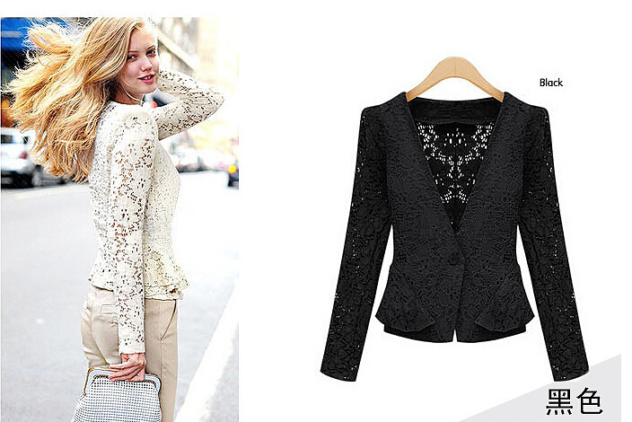 2014 autumn women's Fashion Lace Jacket female's lace hollow out women's outwear Lovely Coats Free Shipping(China (Mainland))