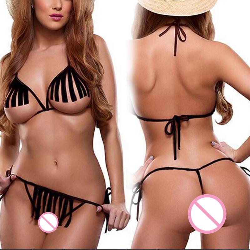 lady sun beach Micro Bikini black font b babydoll b font bikini set lingerie sexy Tassel