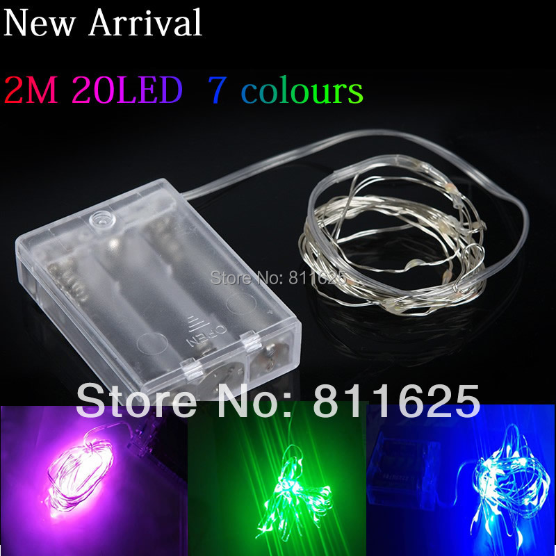 Waterproof led christmas light 2M 20LED Silver wire led String Light battery powered For ...
