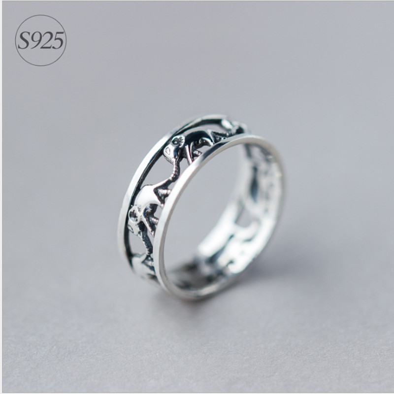 2016 Antique Finish Thailand Silver Hollow Elephant Ring Stackable   Good Luck Animal Women & Men Jewelry Couple Rings Wholesale(China (Mainland))