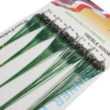100 pcs Fishing Trace Lures Leader Steel Wire Spinner 16/18/22/24/28cm Green Fishing line