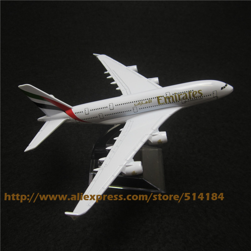16cm Alloy Metal Air Emirates A380 Airlines Airplane Model Airbus 380 Airways Plane Model w Stand Aircarft Toy Gift(China (Mainland))