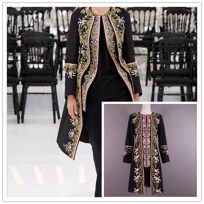2015 new arrival runway VALENTINOS winter coat thick long coat noble gold embroidery wool coat Haute Couture free shippingОдежда и ак�е��уары<br><br><br>Aliexpress