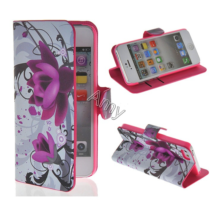 Brand Cute cell phone case for iphone5 5S 5G casing cute Covers for iPhone 5 Flip With Stand Shell for iphone 5S phone housing(China (Mainland))