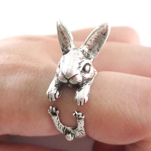 2015 новинка банни кролик-образный животных обернуть вокруг кольцо для женщин девушке подарок