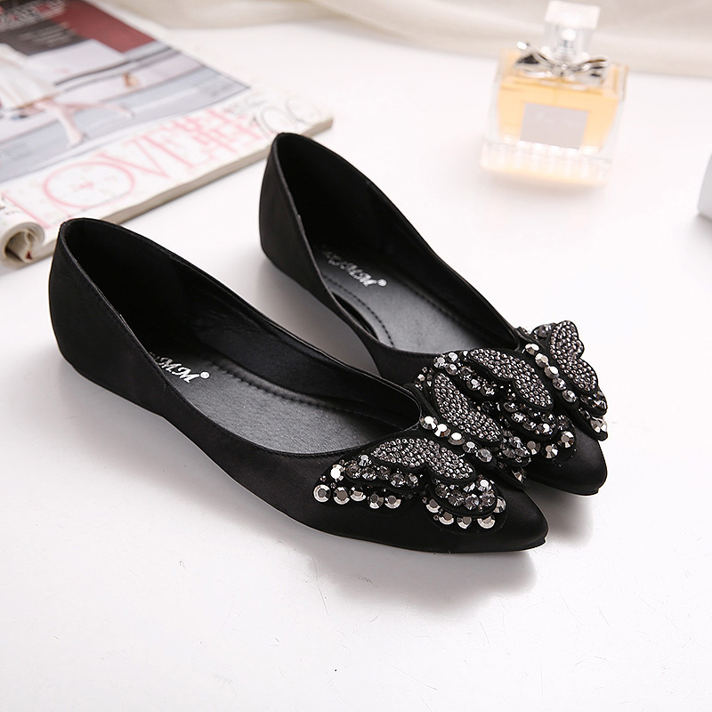 2016 new fashion shallow mouth bow diamond shoes women flat shoes pointed shoes satin surface Ladies flats(China (Mainland))