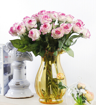 Real touch rose artificial silk flowers wedding decorative bouquet home decoration - X-Colorful Life store