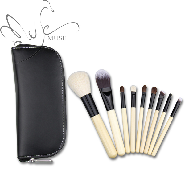 Profissional 9pcs Goat Hair Makeup Brushes Set Cosmetics Beauty Brush Pinceaux Maquillage with Foundation Brush E-Muse