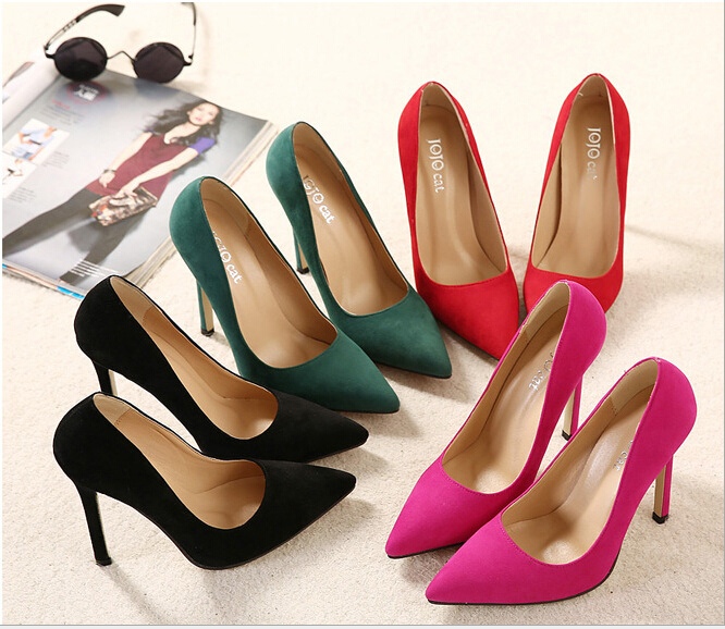 2016 Newest Fashion Women Shoes Pointed Toe Closed Suede Leather Ladies Banquet Steady Thin High Heels Shoes(China (Mainland))