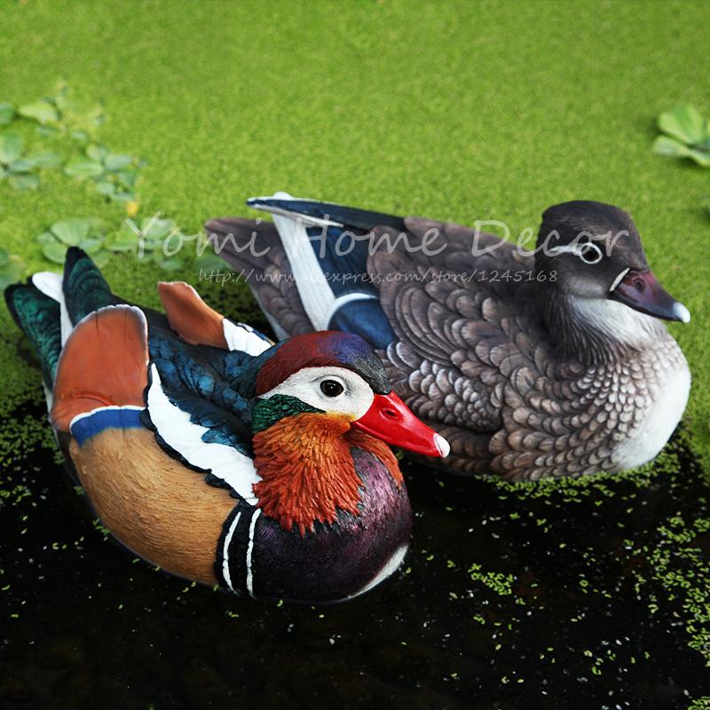 "Home Decor Epoxy Resin Crafts Artificial Floating 6.7"" Male & Female Duck Hunting Shotting Garden Decoration Fake Bird Mallard(China (Mainland))"