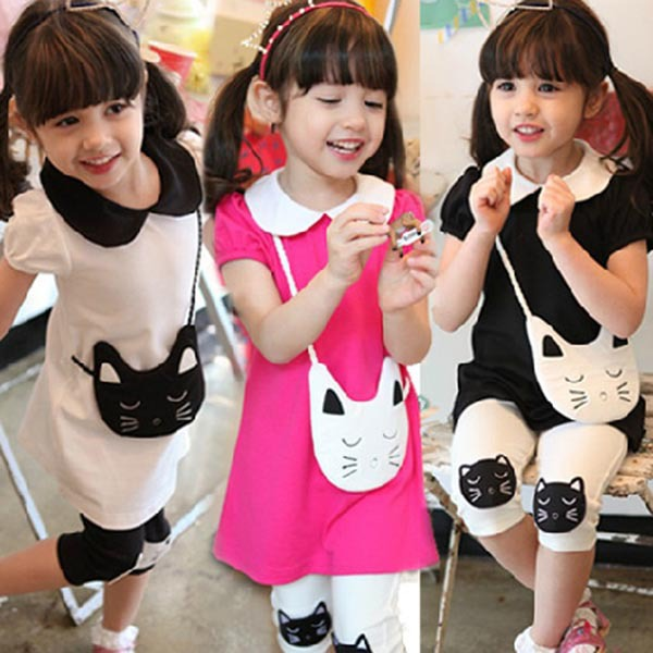 New Children's Sets Girls Clothes 2 pcs Cotton Kitty Pattern Lapel T-shirt+Short Pants Outfits(China (Mainland))