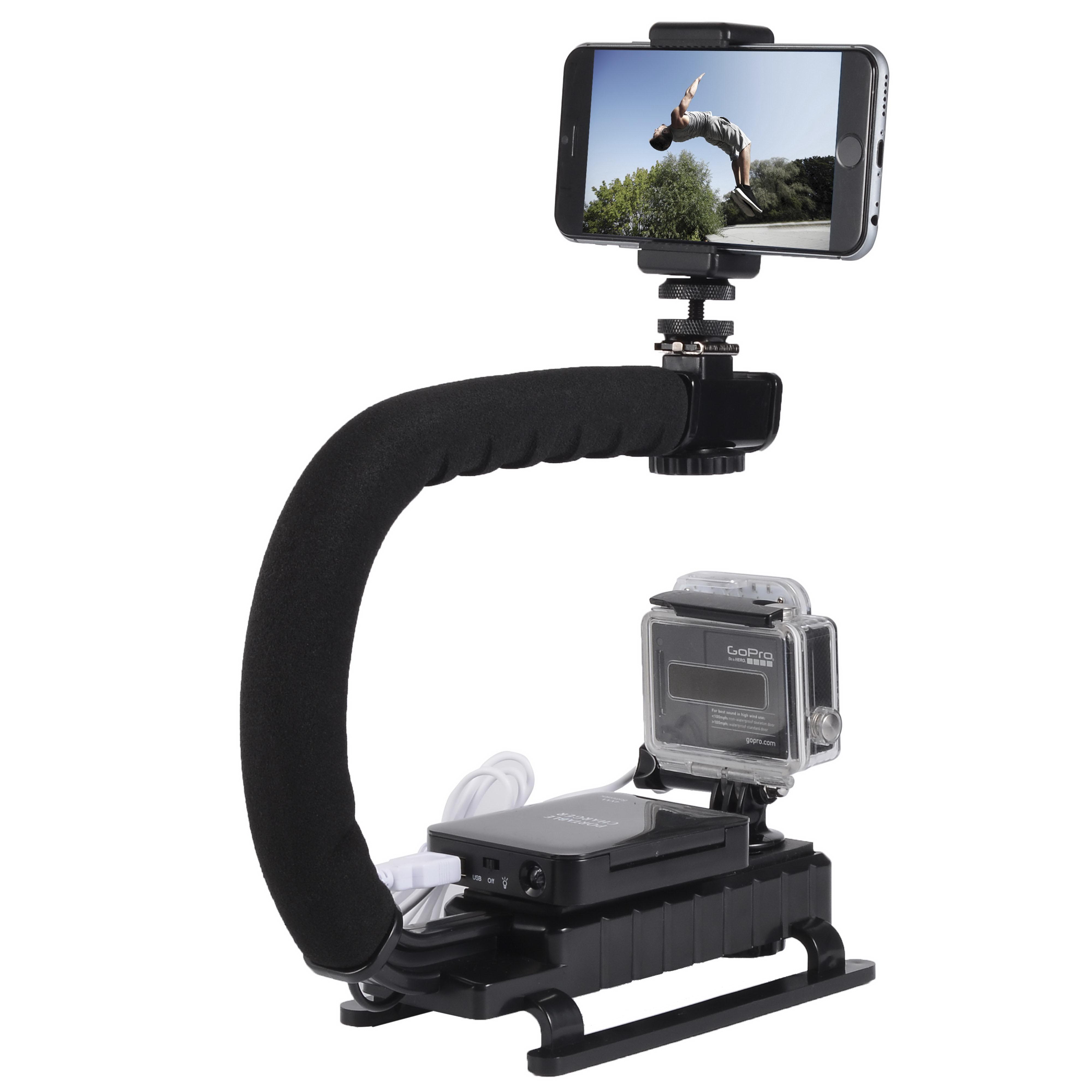 Camera Camcorder Stabilizing Stabilizer Handle Hand Grip + LED Flash for DSLR DV Flash LED OS476(China (Mainland))