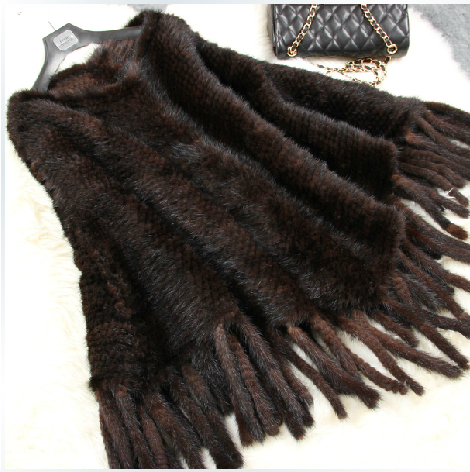 Women Genuine Mink Fur Shawl Cape Natural Furs Coats Jackets Women's Clothing Fashion Outerwear with Tassels Plus Size BF-P0017(China (Mainland))
