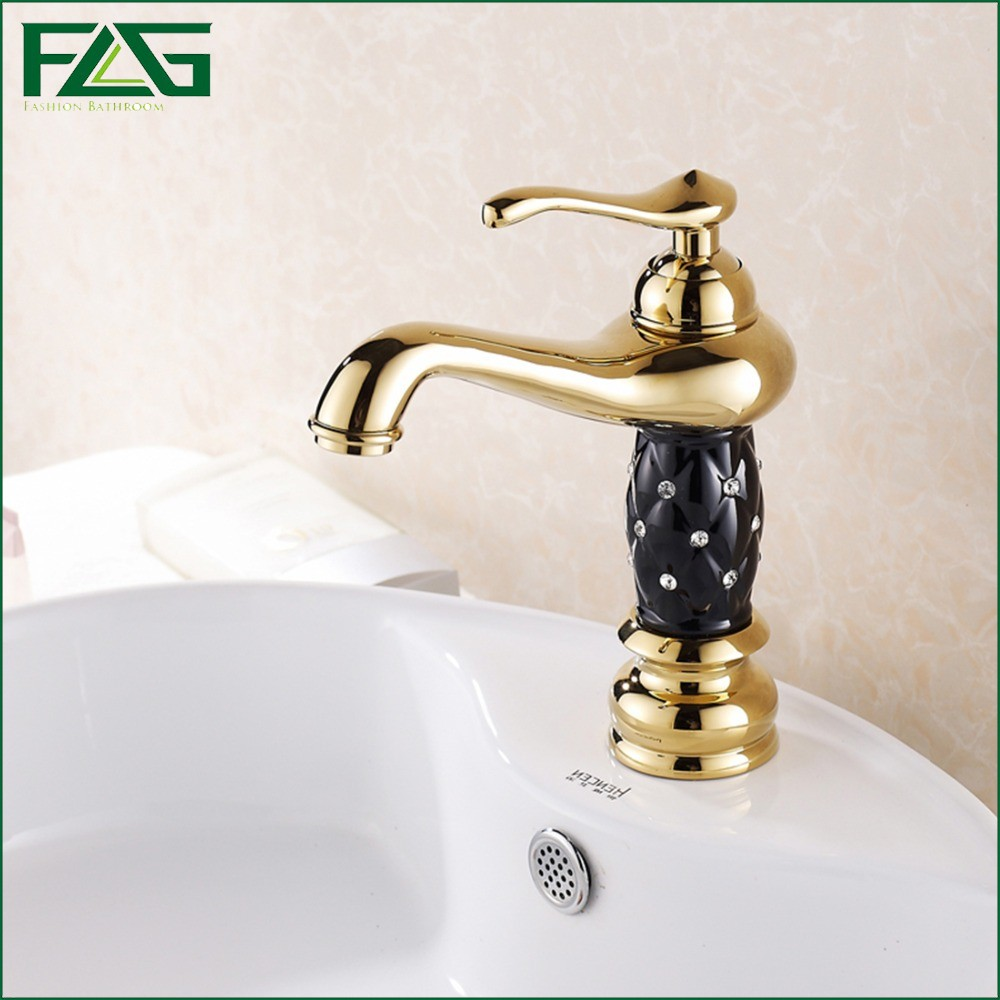 FLG 2016 Top Sale Basin Faucet Single Lever Cold with Diamond And Porcelain Black Body Crystal Washbasin Gold Basin Taps M107(China (Mainland))