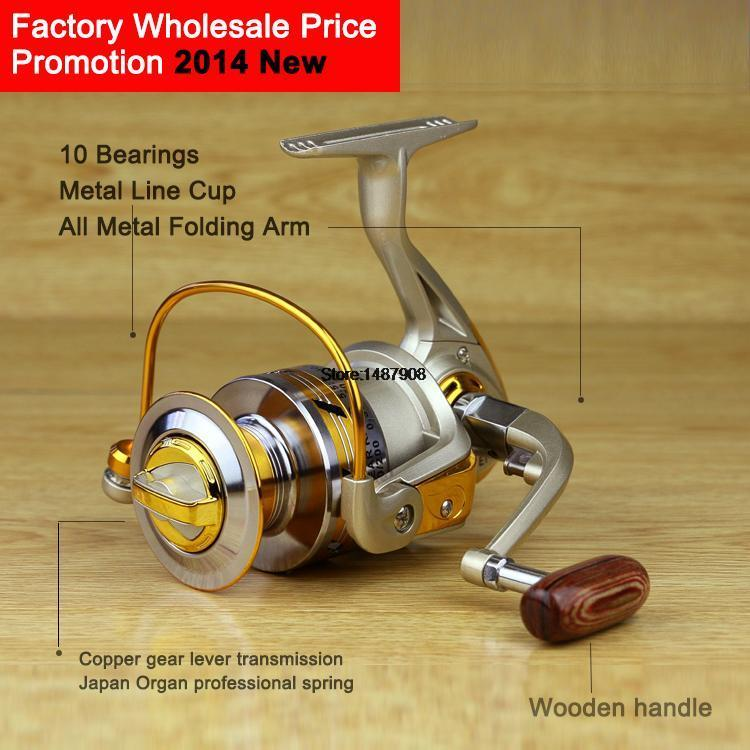 Germany Technology EF 1000 - 7000 10BB Fishing Spinning Reel metal spool painting Line Cup Wood handle Free Shipping L058(China (Mainland))