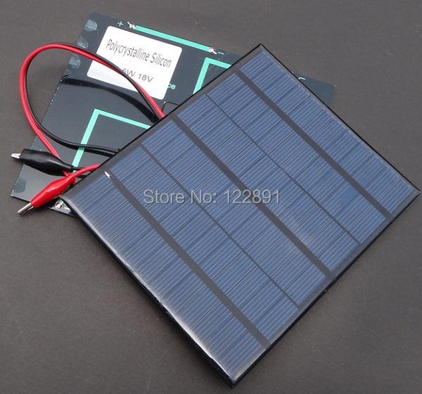 3.5W 18V Polycrystalline Mini Solar Panel Solar Cells Module For 12V Battery Charger Solar Kit+Crocodile  2pcs/lot Free Shipping