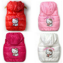 2015 children winter Outerwear Coats Hello Kitty Girls vest hooded vest Kids windbreaker Jacket 100% cotton coats baby warm vest